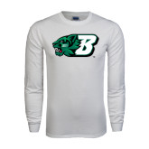 White Long Sleeve T Shirt-Bearcat Head w/ B