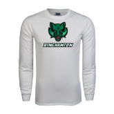 White Long Sleeve T Shirt-Bearcat Head w/ Binghamton
