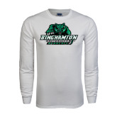 White Long Sleeve T Shirt-Binghamton University Bearcats Official Logo - Distressed