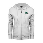 ENZA Ladies White Fleece Full Zip Hoodie-Binghamton University Bearcats Official Logo