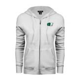 ENZA Ladies White Fleece Full Zip Hoodie-Bearcat Head w/ B