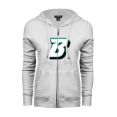 ENZA Ladies White Fleece Full Zip Hoodie-B