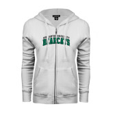ENZA Ladies White Fleece Full Zip Hoodie-Arched Binghamton University Bearcats