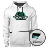 Contemporary Sofspun White Hoodie-Binghamton University Bearcats Official Logo