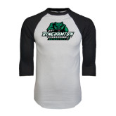 White/Black Raglan Baseball T-Shirt-Binghamton University Bearcats Official Logo
