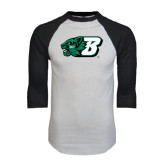 White/Black Raglan Baseball T-Shirt-Bearcat Head w/ B
