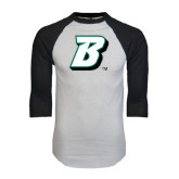 White/Black Raglan Baseball T-Shirt-B