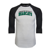 White/Black Raglan Baseball T-Shirt-Arched Binghamton University Bearcats