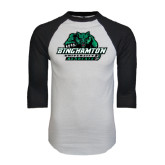 White/Black Raglan Baseball T-Shirt-Binghamton University Bearcats Official Logo - Distressed