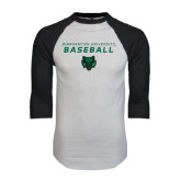 White/Black Raglan Baseball T-Shirt-Baseball Stacked Design