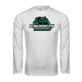 Performance White Longsleeve Shirt-Binghamton University Bearcats Official Logo