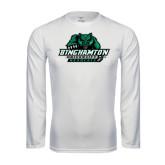 Syntrel Performance White Longsleeve Shirt-Binghamton University Bearcats Official Logo