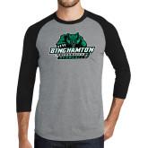 Grey/Black Tri Blend Baseball Raglan-Binghamton University Bearcats Official Logo
