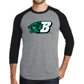 Grey/Black Tri Blend Baseball Raglan-Bearcat Head w/ B