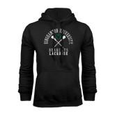 Black Fleece Hoodie-Lacrosse Crossed Sticks Design