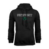 Black Fleece Hoodie-Volleyball Stacked Design