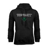 Black Fleece Hoodie-Softball Stacked Design