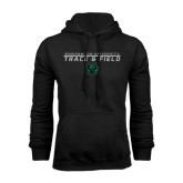 Black Fleece Hoodie-Track and Field Stacked Design