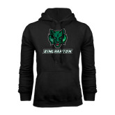 Black Fleece Hoodie-Bearcat Head w/ Binghamton