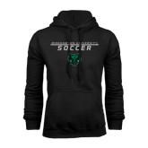 Black Fleece Hoodie-Soccer Stacked Design