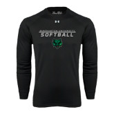 Under Armour Black Long Sleeve Tech Tee-Softball Stacked Design