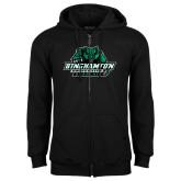 Black Fleece Full Zip Hood-Binghamton University Bearcats Official Logo