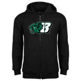 Black Fleece Full Zip Hoodie-Bearcat Head w/ B