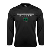 Performance Black Longsleeve Shirt-Soccer Stacked Design