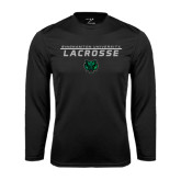 Performance Black Longsleeve Shirt-Lacrosse Stacked Design