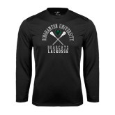 Performance Black Longsleeve Shirt-Lacrosse Crossed Sticks Design