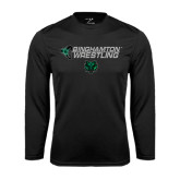 Performance Black Longsleeve Shirt-Wrestling Helmet Design