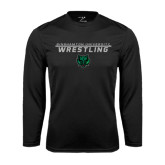 Performance Black Longsleeve Shirt-Wrestling Stacked Design