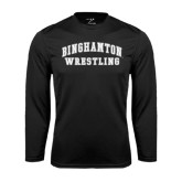 Performance Black Longsleeve Shirt-Arched Wrestling Design