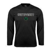 Performance Black Longsleeve Shirt-Volleyball Stacked Design