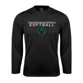 Performance Black Longsleeve Shirt-Softball Stacked Design