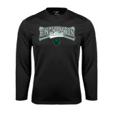 Performance Black Longsleeve Shirt-Softball Crossed Bats Design