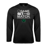 Performance Black Longsleeve Shirt-Game Set Match Tennis Design