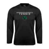 Performance Black Longsleeve Shirt-Tennis Stacked Design