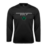 Performance Black Longsleeve Shirt-Golf Stacked Design