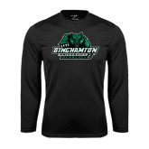 Performance Black Longsleeve Shirt-Binghamton University Bearcats Official Logo