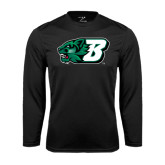 Performance Black Longsleeve Shirt-Bearcat Head w/ B