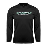 Performance Black Longsleeve Shirt-Binghamton University Flat