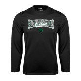 Performance Black Longsleeve Shirt-Crossed Bats Baseball Design