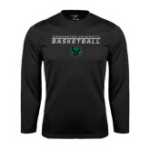 Syntrel Performance Black Longsleeve Shirt-Basketball Stacked Design