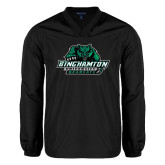 V Neck Black Raglan Windshirt-Binghamton University Bearcats Official Logo