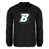 V Neck Black Raglan Windshirt-B