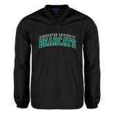 V Neck Black Raglan Windshirt-Arched Binghamton University Bearcats