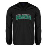 V Neck Black Raglan Windshirt-Arched Binghamton University Bearcats