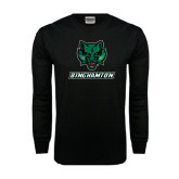 Black Long Sleeve TShirt-Bearcat Head w/ Binghamton