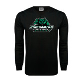 Black Long Sleeve TShirt-Binghamton University Bearcats Official Logo - Distressed
